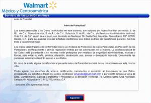 Factura electrónica Walmart - Aviso de privacidad
