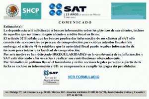 Correos apócrifos - Comunicado del SAT