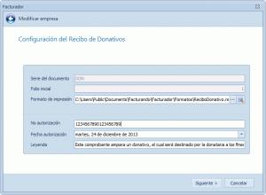 Configuración del recibo de donativo