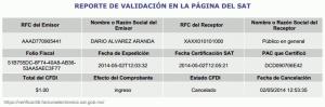 Reporte de validación - SAT