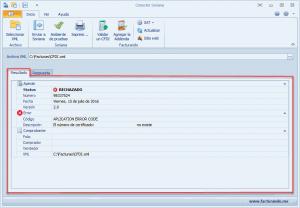 Ejemplo del resultado del envío de factura electrónica</